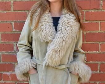 Vintage seventies sheepskin penny lane suede jacket