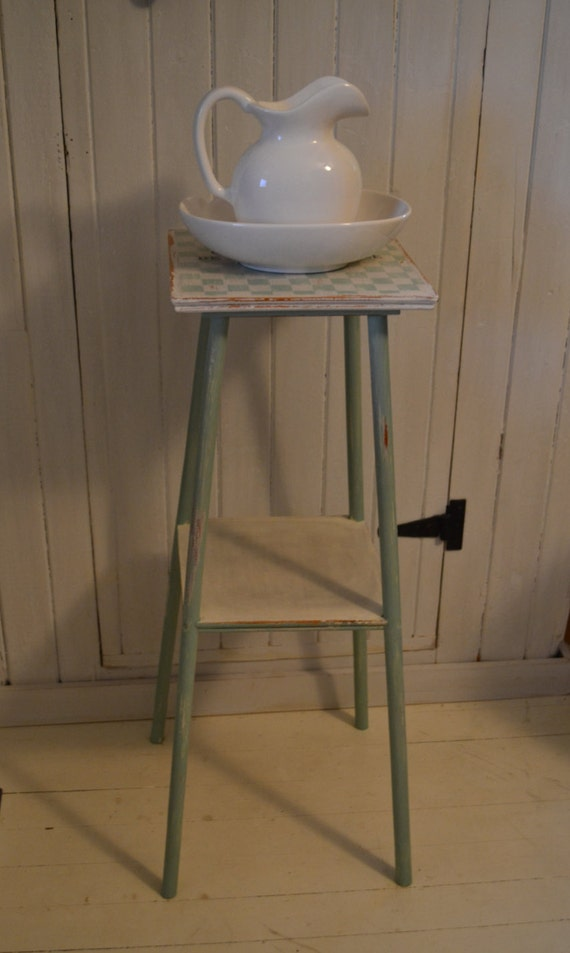 Plant stand tall narrow end table chalk paint distressed for Tall thin end tables