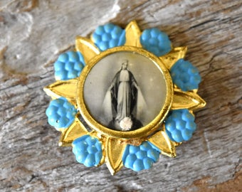 Vintage  Blue and Gold Black and White Miraculous Medal Virgin Mary Saint Medallion Religious Prayer Artifact Queen of Heaven