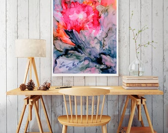 Sunrise, red bright flower watercolor art,  colorful watercolor painting, abstract art print, modern wall decor, bright home decor