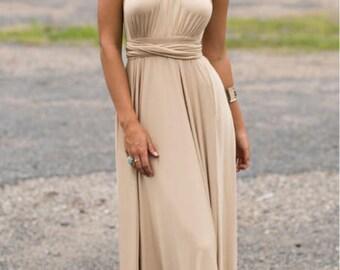 20 colors, Long dresses, Infinity Dress, Dress transformer, Bridesmaid Dresses, Bridesmaid Gift, Boho dress,  Beige dress