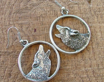 Howling Wolves Sterling Silver Hoop  Earrings