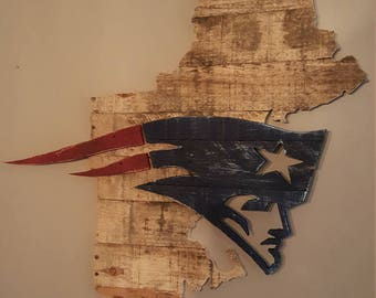 New England Patriots Logo over New England Outline Reclaimed Wood Wall Sign - World Champions