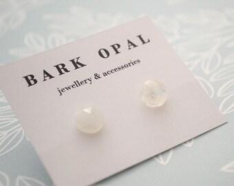 Rainbow Moonstone Studs, June Birthstone Earrings, Faceted Stud Earrings, Rose Cut Moonstone Earrings, Faceted Moonstone Post Earrings