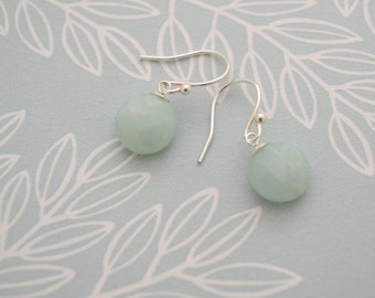 Amazonite Earrings, 925 Sterling Silver, Pastel Blue Earrings, Faceted Coin Earrings, Beaded Drop Earrings, Gift for Her, UK Seller