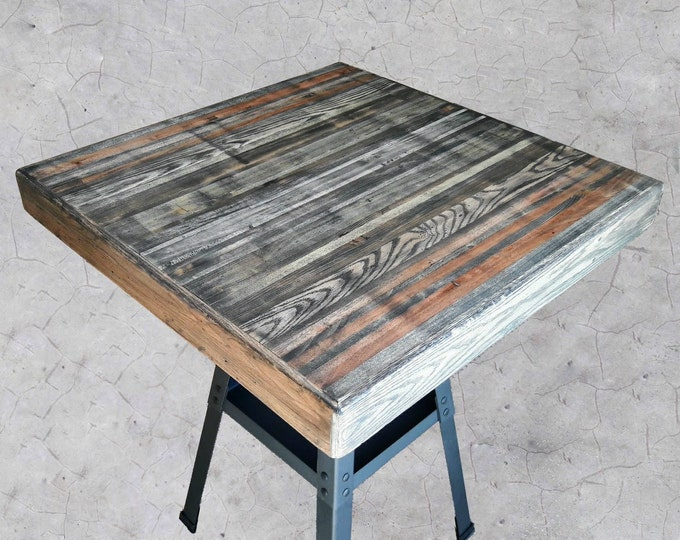 COUNTER HEIGHT TABLE - Industrial Reclaimed Wood w/ Lower Shelf