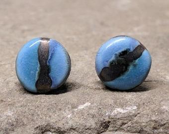 Statement stud Earrings, 10mm Blue Ceramic Studs, Round Blue Earrings, Handmade Ceramic Studs, Modern Earrings, Statement Stud Earrings