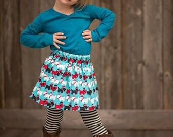 Girls Christmas Skirt, Scottish Terrier Dogs, Girls Skirt, Blue Skirt, Baby Clothing, Girls Clothes, Girls Clothing