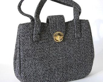 60s Grey Woven Handbag with Gold Clasp - Small Dark Grey Vintage Purse