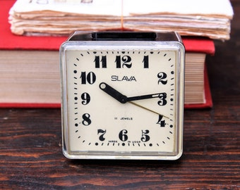 Vintage Mechanical Clock Slava - Soviet Desk Clock - Russian Alarm Clock - Retro Clock - Office Decor - Retro Home Decor