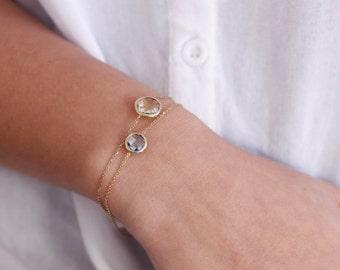 Gemstone Bracelet, Lemon Quartz Gold Bracelet, Gold Blue Topaz Bracelet, Double Gem Bracelet, Gold Gem Bracelet, 14K Gold Bracelet, GB0280