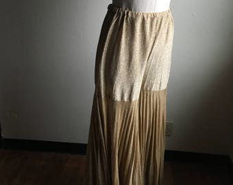 vintage 70s gold metallic shimmer palazzo accordion pleat wide leg high waist pants