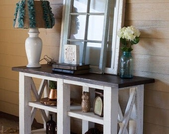 X-Style Console Table; Wooden Cross Console Table; Sofa Table; Farmhouse sofa table; Farmhouse console table; Farmhouse furniture