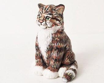 Hand painted Cat Figurine, Cat lover, Cat  clay sculpture, Miniature Cat Figurine