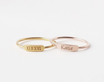 Personalized Ring/ Dainty Bar Ring/ Stacking Ring/ Custom Name Ring/ Layered Ring CR10S