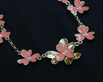 Pink Flower Floral Necklace