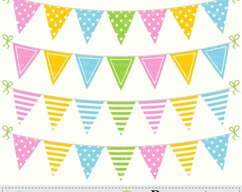 Pennant Bunting Banners Clip Art, Birthday Party Bunting Banners Clipart, Colorful Bunting Flags Digital Download Vector Clip Art