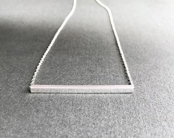 Silver Bar Necklace, Minimal Horizontal Square Rod Geometric Modern Simple Layering Sleek Sliding Straight Tube Pendant, Sterling Silver