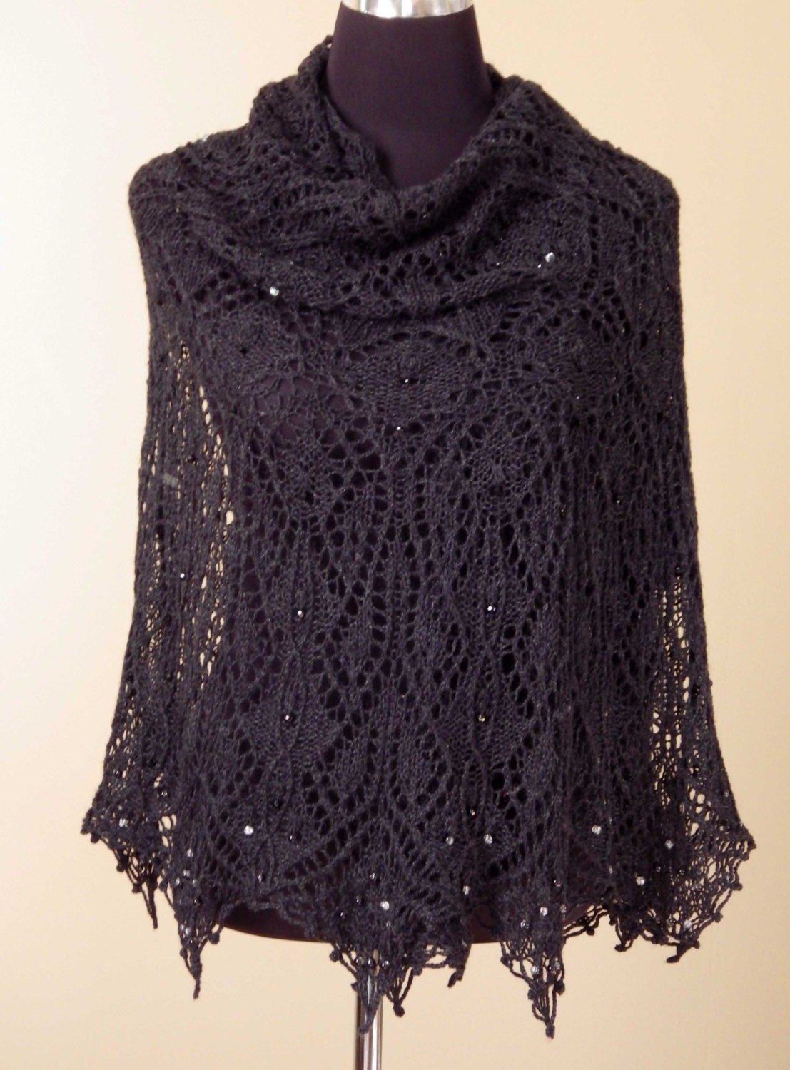 Black Knit Lace Shawl Silk Merino Yarn Glass Beads Hand