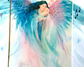 Lullaby Angel - Spirit Inspired Watercolor Print with Unique Hand Painted Mat