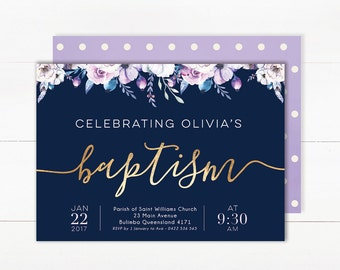 Baptism Invitation Girl | Baptism Invitation Girl | Baptism Invite | Christening Invitations | Baptism Invitations Printable | Navy and Gold