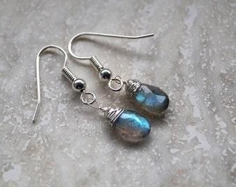 Labradorite Dangle Earrings,Tiny Dangle Earrings,Teardrop Earrings,Wire Wrapped Earrings