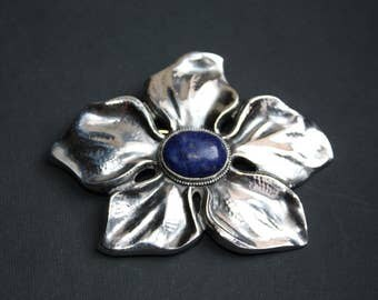 c1920 KARL KARST Pforzheim JUGENDSTIL heavy 800 silver and lapis lazuli flower brooch Wilhelm Muller stamps