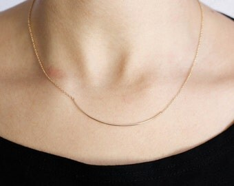 Curved Bar Necklace, Curved Bar, Rose Gold Necklace, Mothers Day Gift, Simple Minimalist Necklace, Layered Necklace, Gift for Her, SN0049