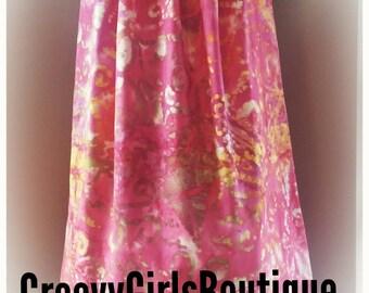 Girl's Toddler Tye Dye Retro Boho Pink Pillowcase Summer Dress-4T-5T