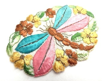 Dragonfly Applique, 1930s vintage embroidered dragonfly applique. Vintage patch, sewing supply. Applique, Crazy quilt. #6A7GB8KF