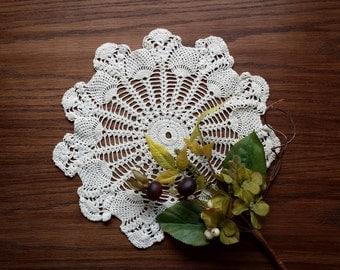 Vintage Crochet Lace Doily, 12 Inch Crocheted Doily, Spokes & Florets Design, Handmade Centerpiece