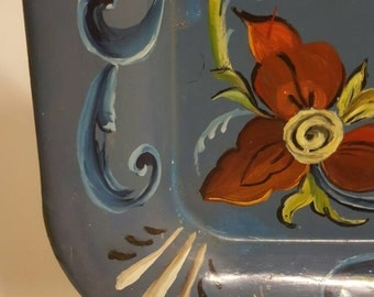 Vintage serving tray hand painted blue with flowers art work