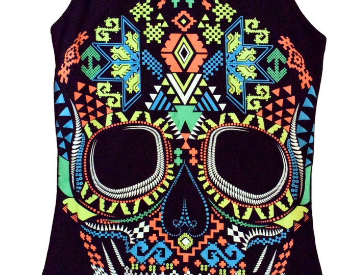 Woman's Black Huichol Skull Day of the Dead Tank