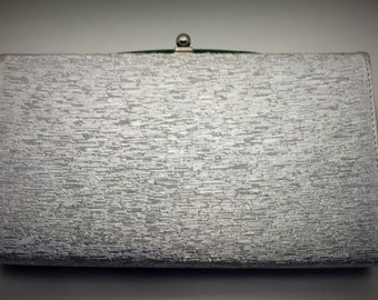 Vintage Purse Silver Shimmering Fabric Snap Closure Chain Strap Clutch Evening Bag