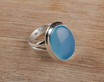 Blue Chalcedony Ring, Pure 925 Sterling Silver Ring, Statement Ring, Solitaire Ring, Boho Ring, Blue Cabochon Ring, Chalcedony Rings, Gift