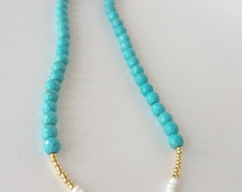 """CLOSE OUT 18"""" long Turquoise Jasper beaded necklace with white and gold seed beads"""