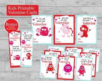 Kids Valentine Cards Printable, Monster Valentine Cards, Bonus Teacher Bookmarks Set of 9 DIY Classroom Cards Boys Girls Instant Download