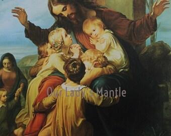 Let the Children Come by Carl Vogel von Vogelstein - 11X14 Religious Art Print Picture