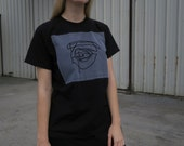 Black t-shirt with original eye line drawing , size L unisex