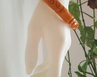 Vintage Carved Bakelite Bangle - Orange or Pumpkin - Stylized Floral - Art Deco - 1930s