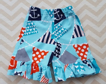 Girls/ Toddler 18 Months Nautical Bunting Ruffle Pants / Capris - can make larger sizes as well