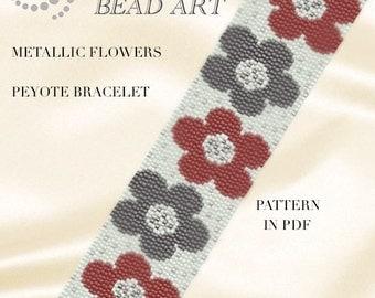 Peyote Pattern for bracelet - Metallic flowers peyote bracelet cuff pattern in PDF - instant download