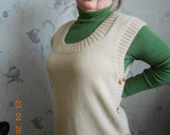Beige women's vest Knitted vest Women's warm vest Long vest Knitted womens tunic  Knitted tunic Women's knitted sweater Sleeveless sweater