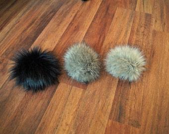 Faux Fur Pom Pom /  Large Faux Fur Pom Pom/ Handmade / Craft Supply / Black Faux Fur Pom/ Gray Faux Fur Pom
