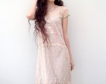 Beautiful 1920s dress embroidered lace vintage antique flapper