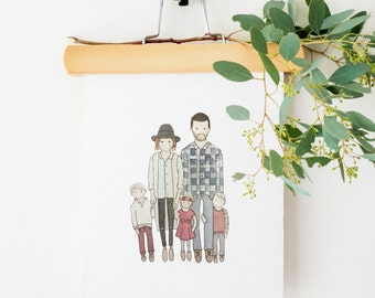 Family Portrait | Custom Portrait | Couple Illustration | Watercolor | Hand Painted