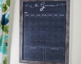 Framed Calendar, Custom Family Chalkboard Dry Erase Wall Calendar, 18x24 framed calendar, Valentines Day Gift #18.C1.V