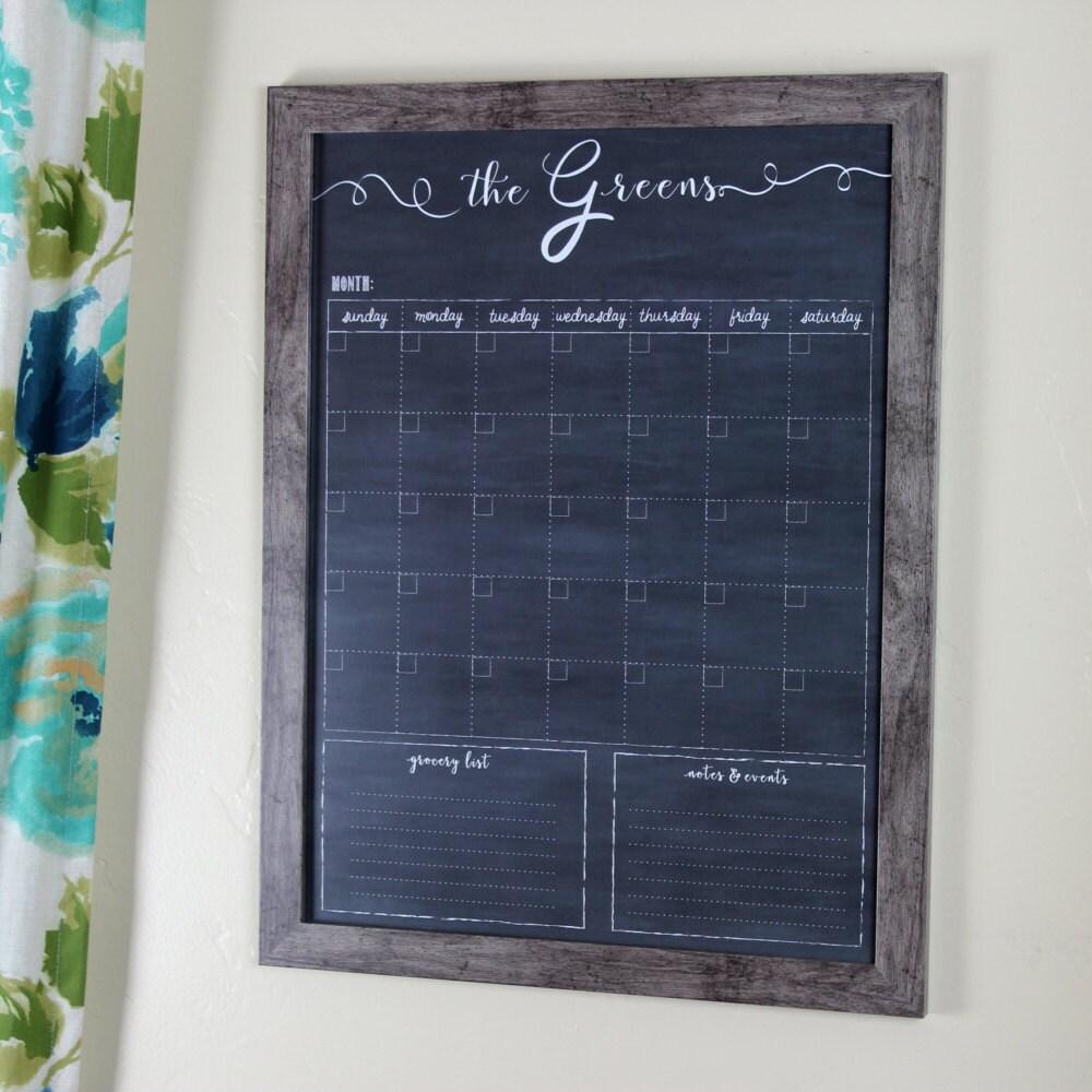 Chalkboard Calendar Framed : Framed calendar custom family chalkboard dry erase wall