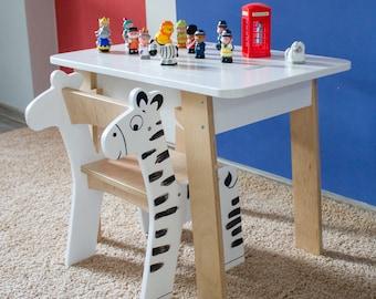 Kids Plywood Desk Table and Chair Set | Modern Kids Furniture With Storage Case | Children Art Desk | Eco-friendly Wooden Nursery | Animals