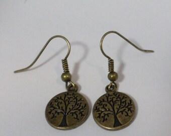 Tree of life earrings antique bronze